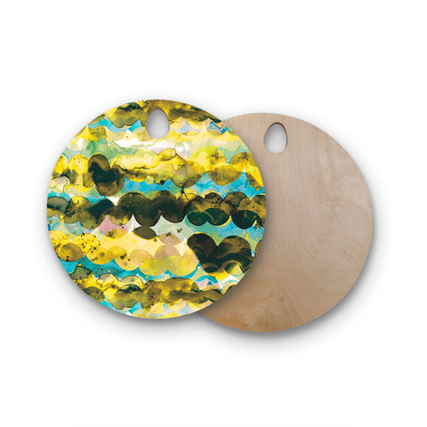"Ninola Design ""Gold Turquoise Abstract Waves"" Gold Teal Abstract Modern Watercolor Illustration Round Wooden Cutting Board"