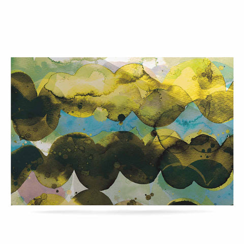 "Ninola Design ""Gold Turquoise Abstract Waves"" Gold Teal Abstract Modern Watercolor Illustration Luxe Rectangle Panel"