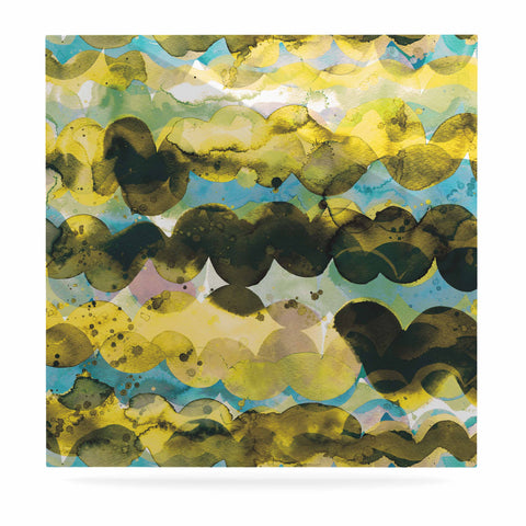 "Ninola Design ""Gold Turquoise Abstract Waves"" Gold Teal Abstract Modern Watercolor Illustration Luxe Square Panel"