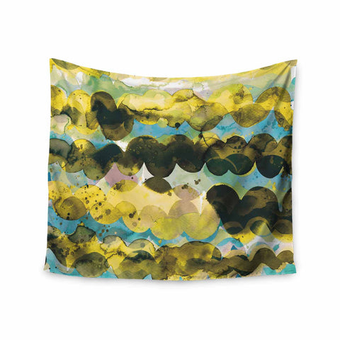 "Ninola Design ""Gold Turquoise Abstract Waves"" Gold Teal Abstract Modern Watercolor Illustration Wall Tapestry"