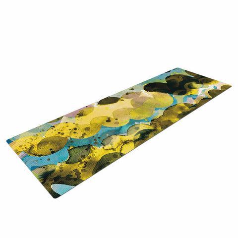 "Ninola Design ""Gold Turquoise Abstract Waves"" Gold Teal Abstract Modern Watercolor Illustration Yoga Mat"