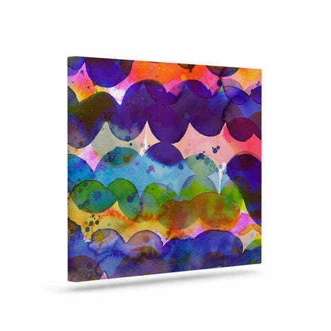 "Ninola Design ""Colorful Abstract Waves"" Blue Red Abstract Holiday Watercolor Painting Art Canvas"