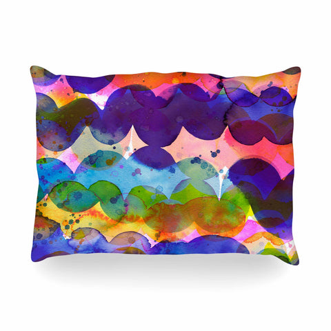 "Ninola Design ""Colorful Abstract Waves"" Blue Red Abstract Holiday Watercolor Painting Oblong Pillow"
