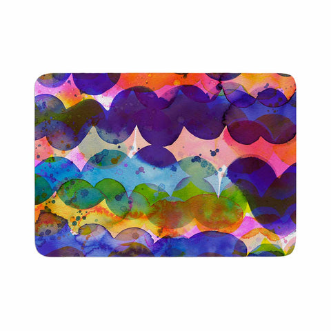 "Ninola Design ""Colorful Abstract Waves"" Blue Red Abstract Holiday Watercolor Painting Memory Foam Bath Mat"