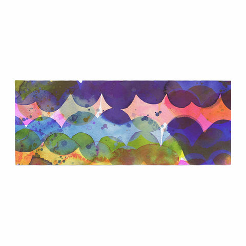 "Ninola Design ""Colorful Abstract Waves"" Blue Red Abstract Holiday Watercolor Painting Bed Runner"