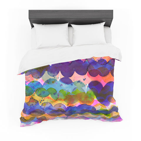 "Ninola Design ""Colorful Abstract Waves"" Blue Red Abstract Holiday Watercolor Painting Featherweight Duvet Cover"