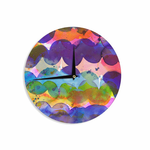 "Ninola Design ""Colorful Abstract Waves"" Blue Red Abstract Holiday Watercolor Painting Wall Clock"