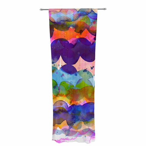 "Ninola Design ""Colorful Abstract Waves"" Blue Red Abstract Holiday Watercolor Painting Decorative Sheer Curtain"