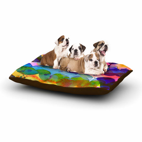 "Ninola Design ""Colorful Abstract Waves"" Blue Red Abstract Holiday Watercolor Painting Dog Bed"