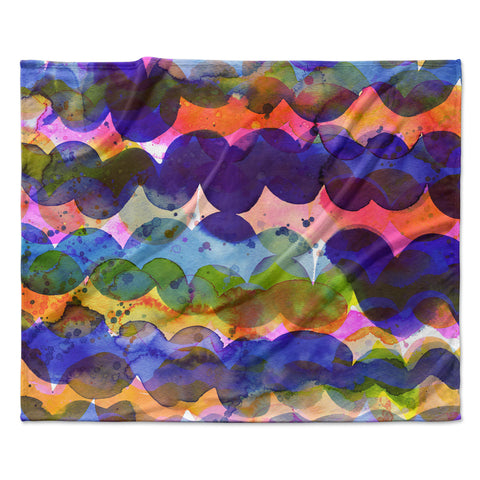 "Ninola Design ""Colorful Abstract Waves"" Blue Red Abstract Holiday Watercolor Painting Fleece Throw Blanket"