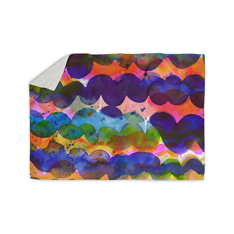 "Ninola Design ""Colorful Abstract Waves"" Blue Red Abstract Holiday Watercolor Painting Sherpa Blanket"