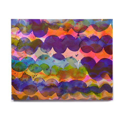 "Ninola Design ""Colorful Abstract Waves"" Blue Red Abstract Holiday Watercolor Painting Birchwood Wall Art"