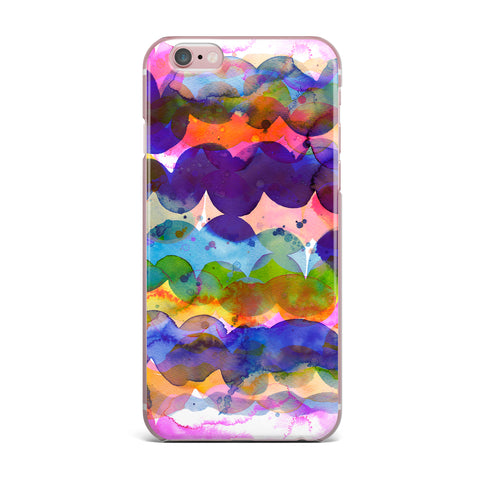 "Ninola Design ""Colorful Abstract Waves"" Blue Red Abstract Holiday Watercolor Painting iPhone Case"