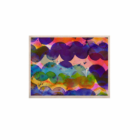 "Ninola Design ""Colorful Abstract Waves"" Blue Red Abstract Holiday Watercolor Painting KESS Naturals Canvas (Frame not Included)"