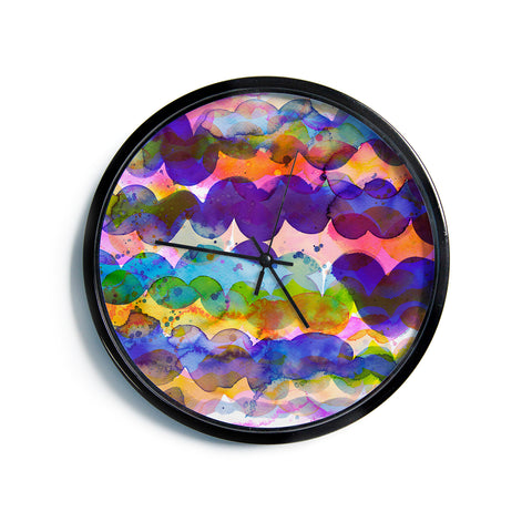 "Ninola Design ""Colorful Abstract Waves"" Blue Red Abstract Holiday Watercolor Painting Modern Wall Clock"