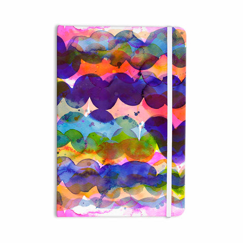 "Ninola Design ""Colorful Abstract Waves"" Blue Red Abstract Holiday Watercolor Painting Everything Notebook"