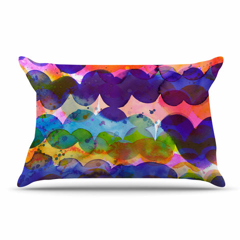 "Ninola Design ""Colorful Abstract Waves"" Blue Red Abstract Holiday Watercolor Painting Pillow Sham"