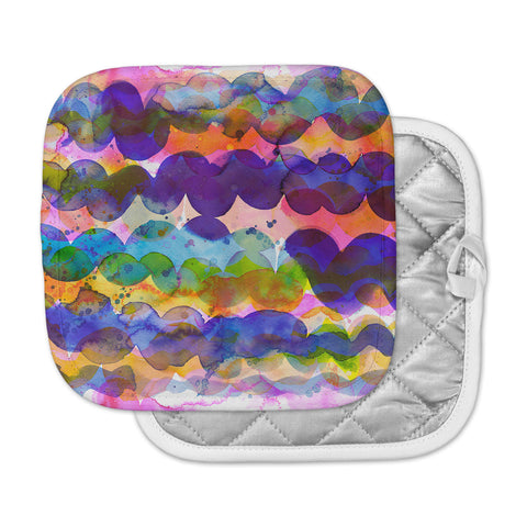 "Ninola Design ""Colorful Abstract Waves"" Blue Red Abstract Holiday Watercolor Painting Pot Holder"