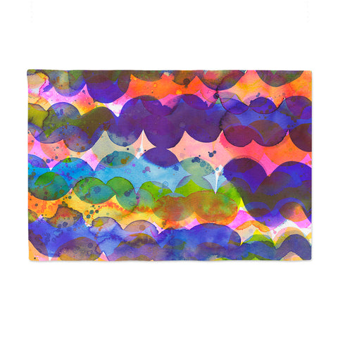"Ninola Design ""Colorful Abstract Waves"" Blue Red Abstract Holiday Watercolor Painting Place Mat"