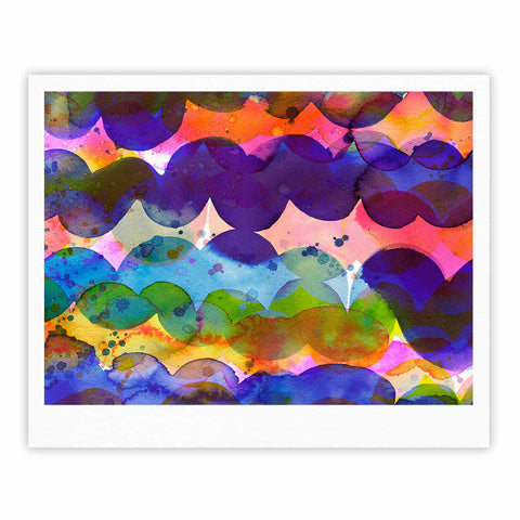 "Ninola Design ""Colorful Abstract Waves"" Blue Red Abstract Holiday Watercolor Painting Fine Art Gallery Print"