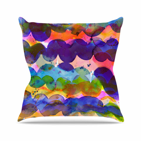 "Ninola Design ""Colorful Abstract Waves"" Blue Red Abstract Holiday Watercolor Painting Outdoor Throw Pillow"