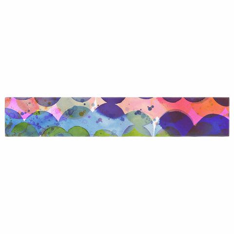 "Ninola Design ""Colorful Abstract Waves"" Blue Red Abstract Holiday Watercolor Painting Table Runner"