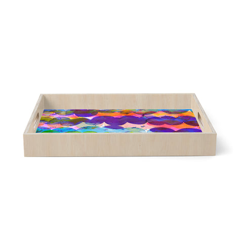 "Ninola Design ""Colorful Abstract Waves"" Blue Red Abstract Holiday Watercolor Painting Birchwood Tray"