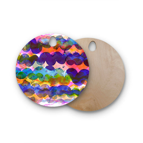 "Ninola Design ""Colorful Abstract Waves"" Blue Red Abstract Holiday Watercolor Painting Round Wooden Cutting Board"