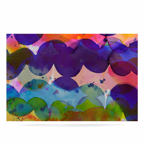 "Ninola Design ""Colorful Abstract Waves"" Blue Red Abstract Holiday Watercolor Painting Luxe Rectangle Panel"