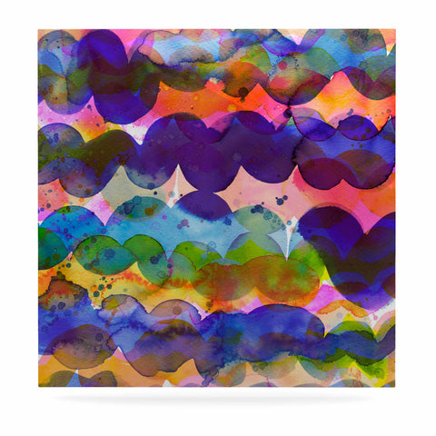 "Ninola Design ""Colorful Abstract Waves"" Blue Red Abstract Holiday Watercolor Painting Luxe Square Panel"
