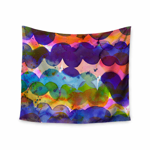 "Ninola Design ""Colorful Abstract Waves"" Blue Red Abstract Holiday Watercolor Painting Wall Tapestry"