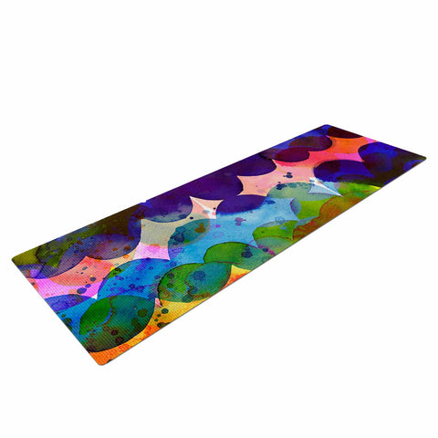 "Ninola Design ""Colorful Abstract Waves"" Blue Red Abstract Holiday Watercolor Painting Yoga Mat"