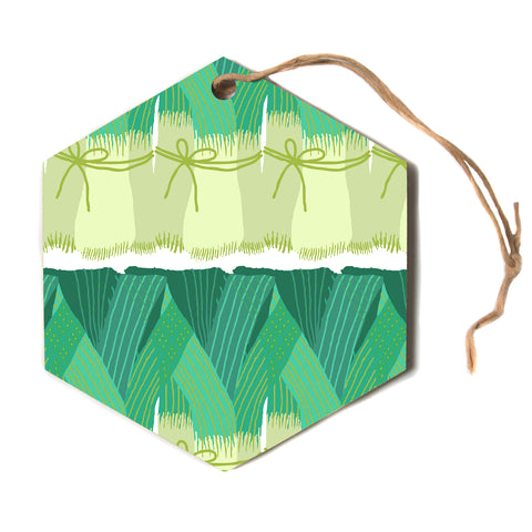 "Laura Nicholson ""Leeks""  Hexagon Holiday Ornament"