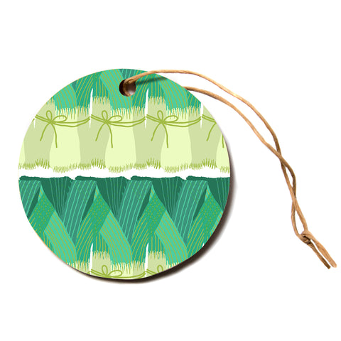 "Laura Nicholson ""Leeks""  Circle Holiday Ornament"