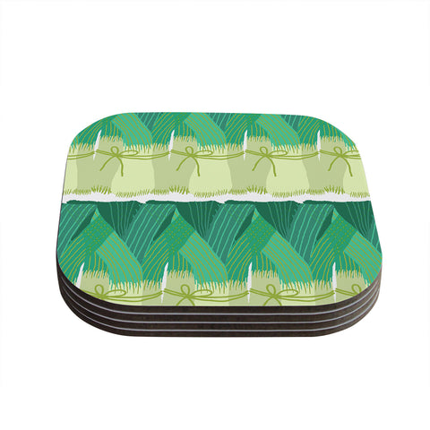 "Laura Nicholson ""Leeks"" Coasters (Set of 4)"