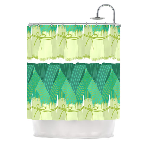 "Laura Nicholson ""Leeks"" Shower Curtain - Outlet Item"
