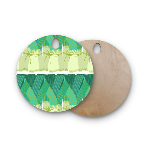 "Laura Nicholson ""Leeks"" Round Wooden Cutting Board"