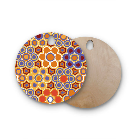 "Laura Nicholson ""Flower Garden"" Round Wooden Cutting Board"