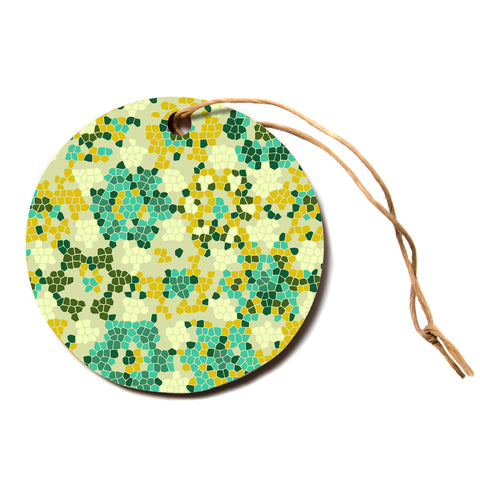 "Laura Nicholson ""Flower Garden Mosaic""  Circle Holiday Ornament"