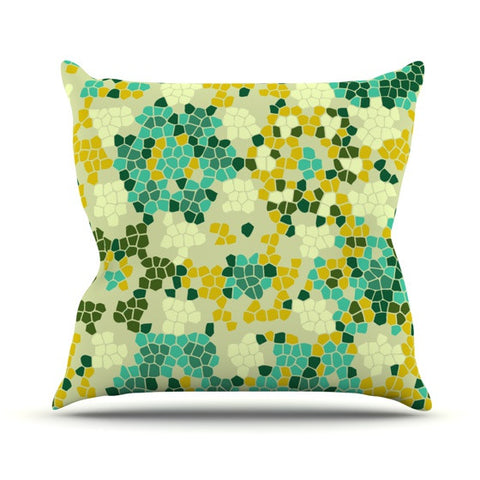 "Laura Nicholson ""Flower Garden Mosaic"" Outdoor Throw Pillow - KESS InHouse  - 1"