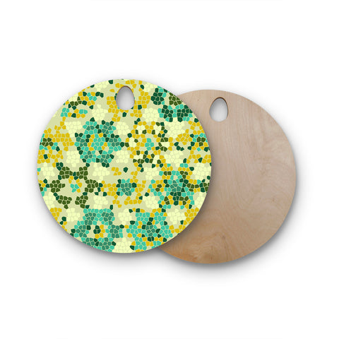 "Laura Nicholson ""Flower Garden Mosaic"" Round Wooden Cutting Board"