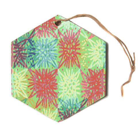 "Laura Nicholson ""Multi Lacy""  Hexagon Holiday Ornament"