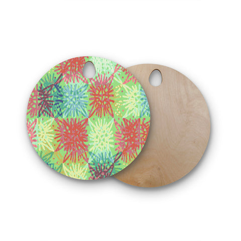 "Laura Nicholson ""Multi Lacy"" Round Wooden Cutting Board"