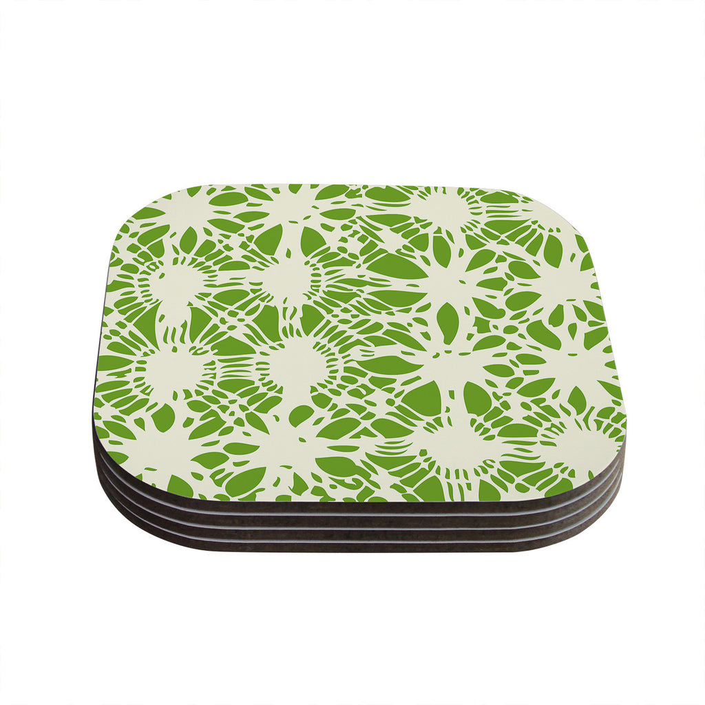 "Laura Nicholson ""Drawnwork"" Green White Coasters (Set of 4)"