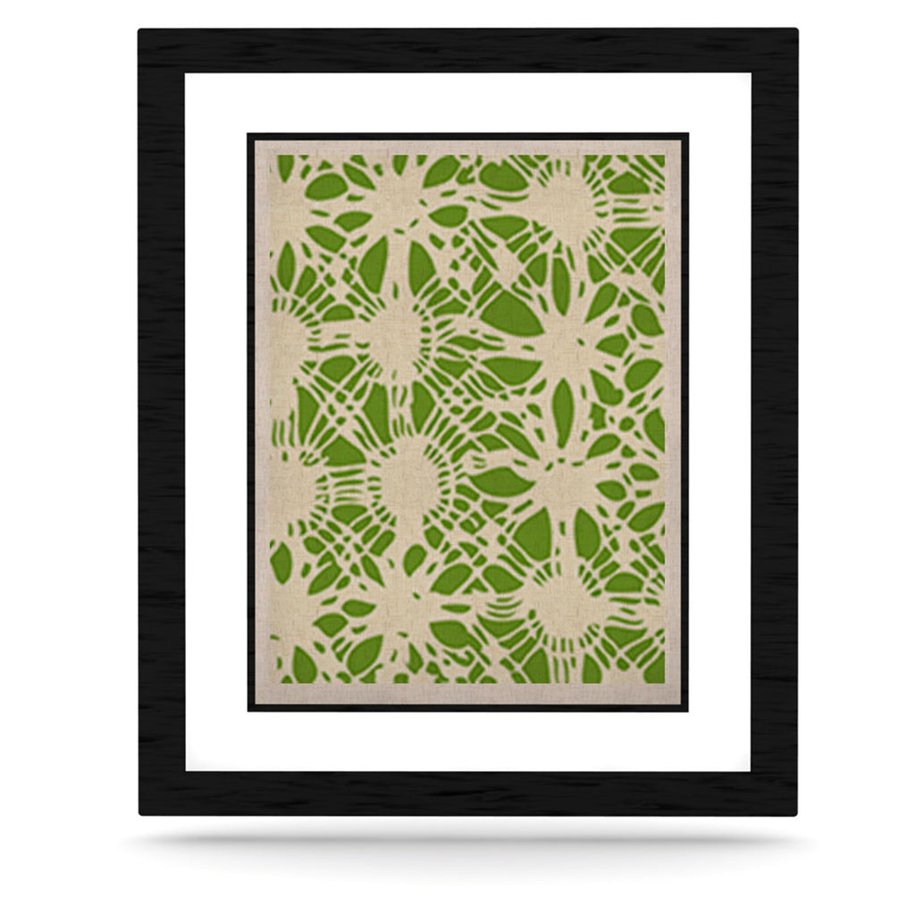 "Laura Nicholson ""Drawnwork"" Green White KESS Naturals Canvas (Frame not Included) - KESS InHouse  - 1"