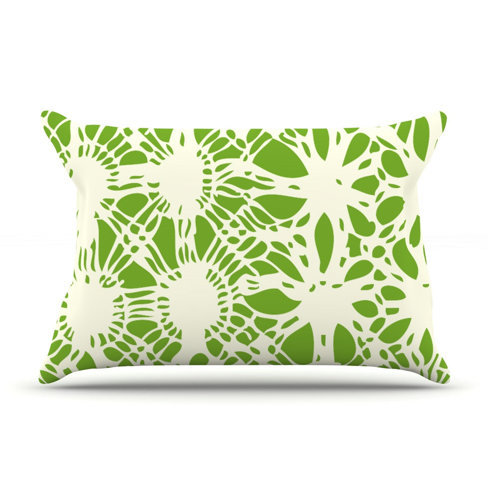 "Laura Nicholson ""Drawnwork"" Green White Pillow Sham - KESS InHouse"