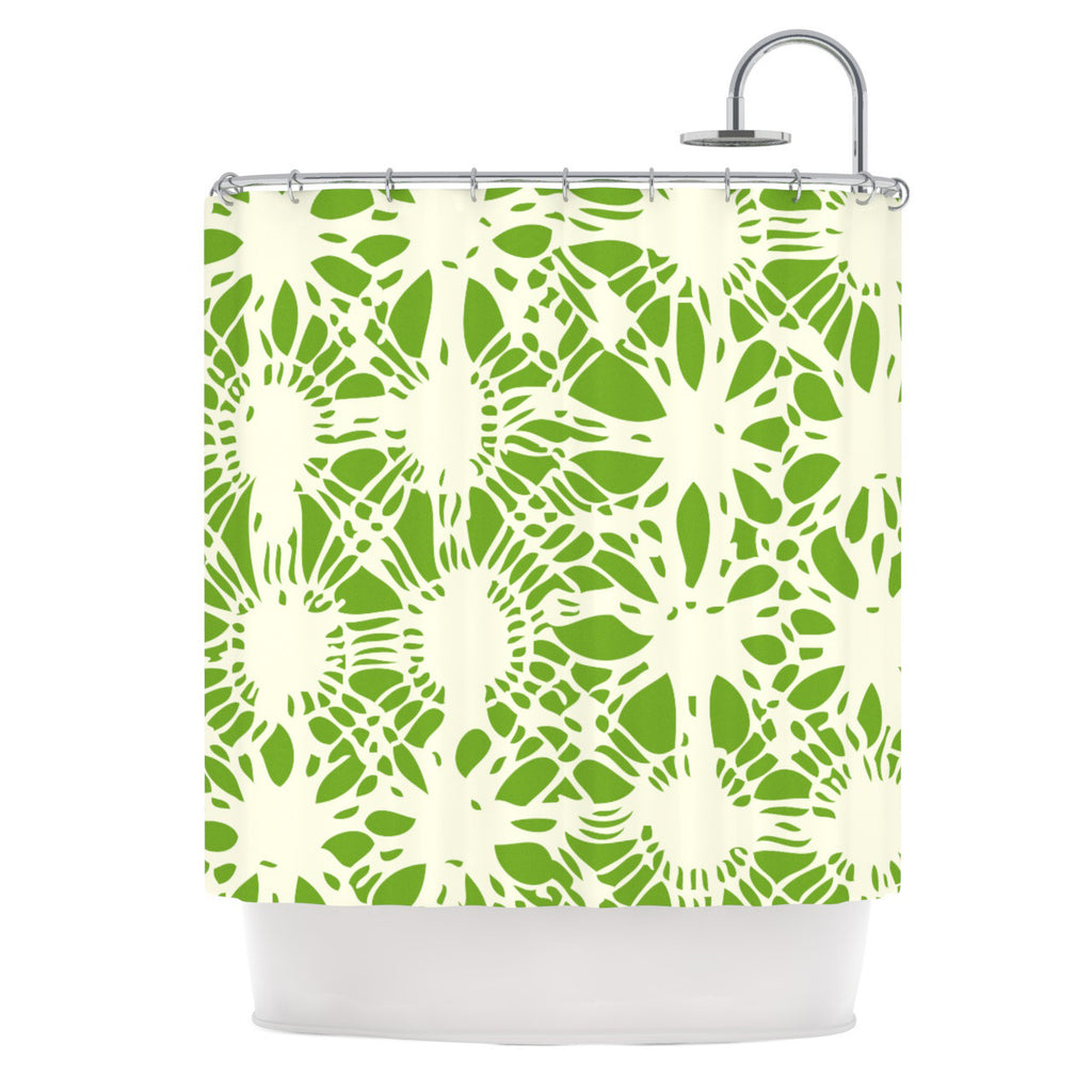"Laura Nicholson ""Drawnwork"" Green White Shower Curtain - KESS InHouse"