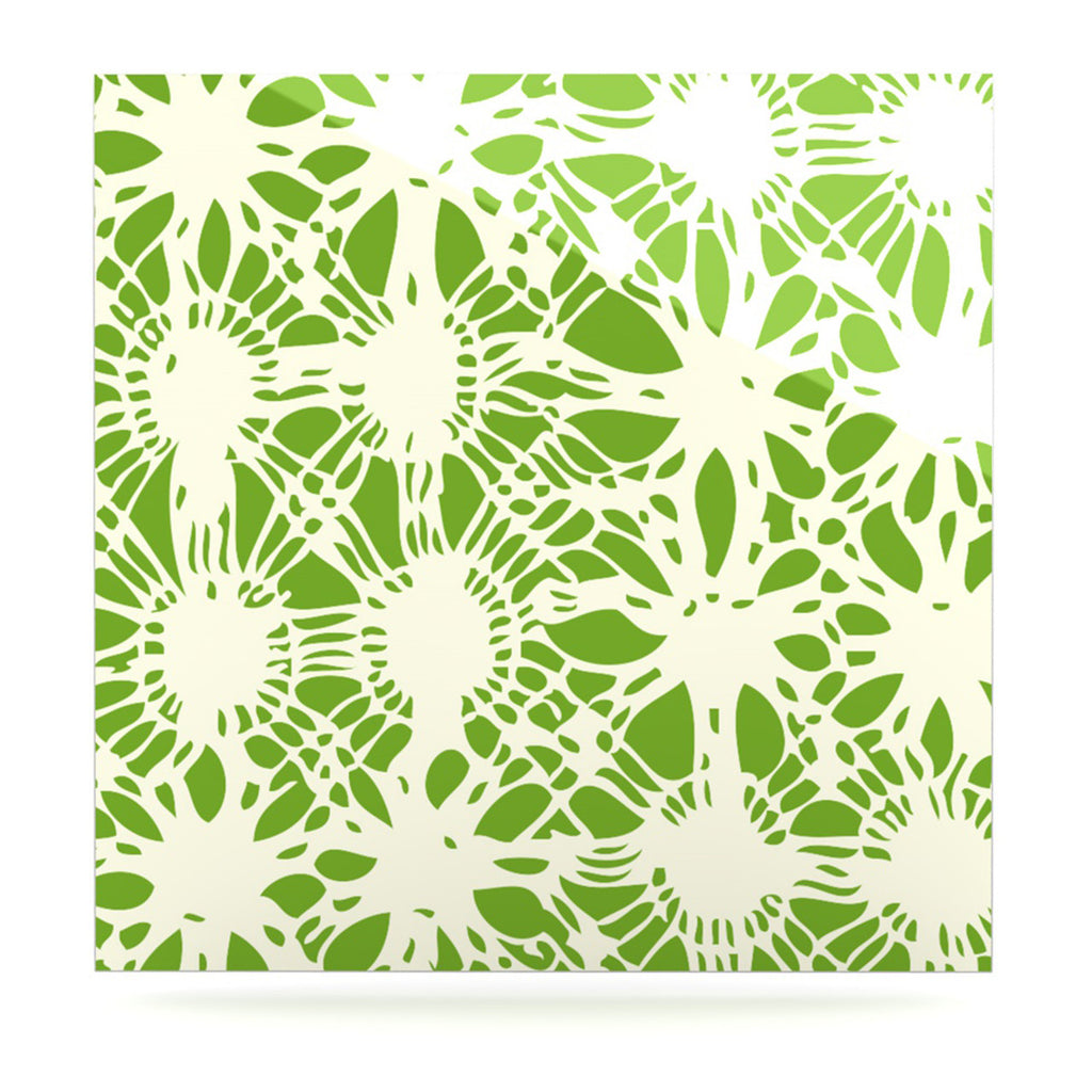 "Laura Nicholson ""Drawnwork"" Green White Luxe Square Panel - KESS InHouse  - 1"