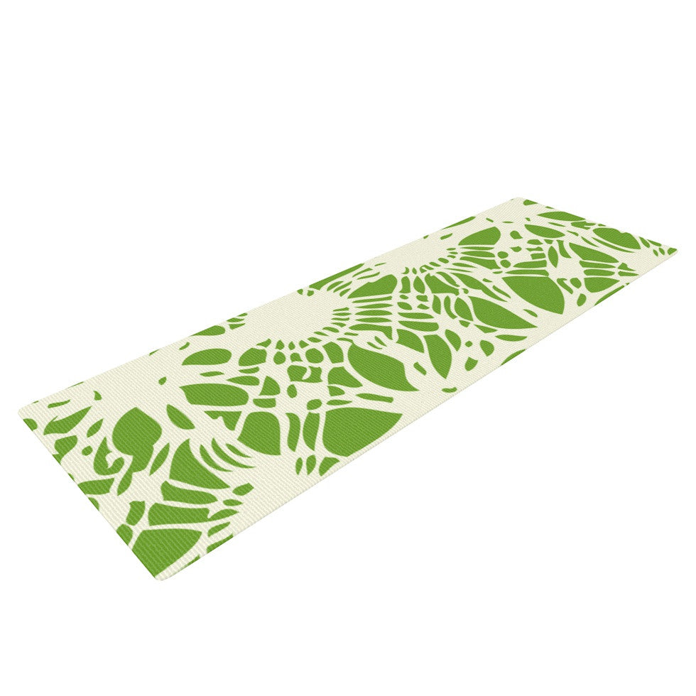 "Laura Nicholson ""Drawnwork"" Green White Yoga Mat - KESS InHouse  - 1"