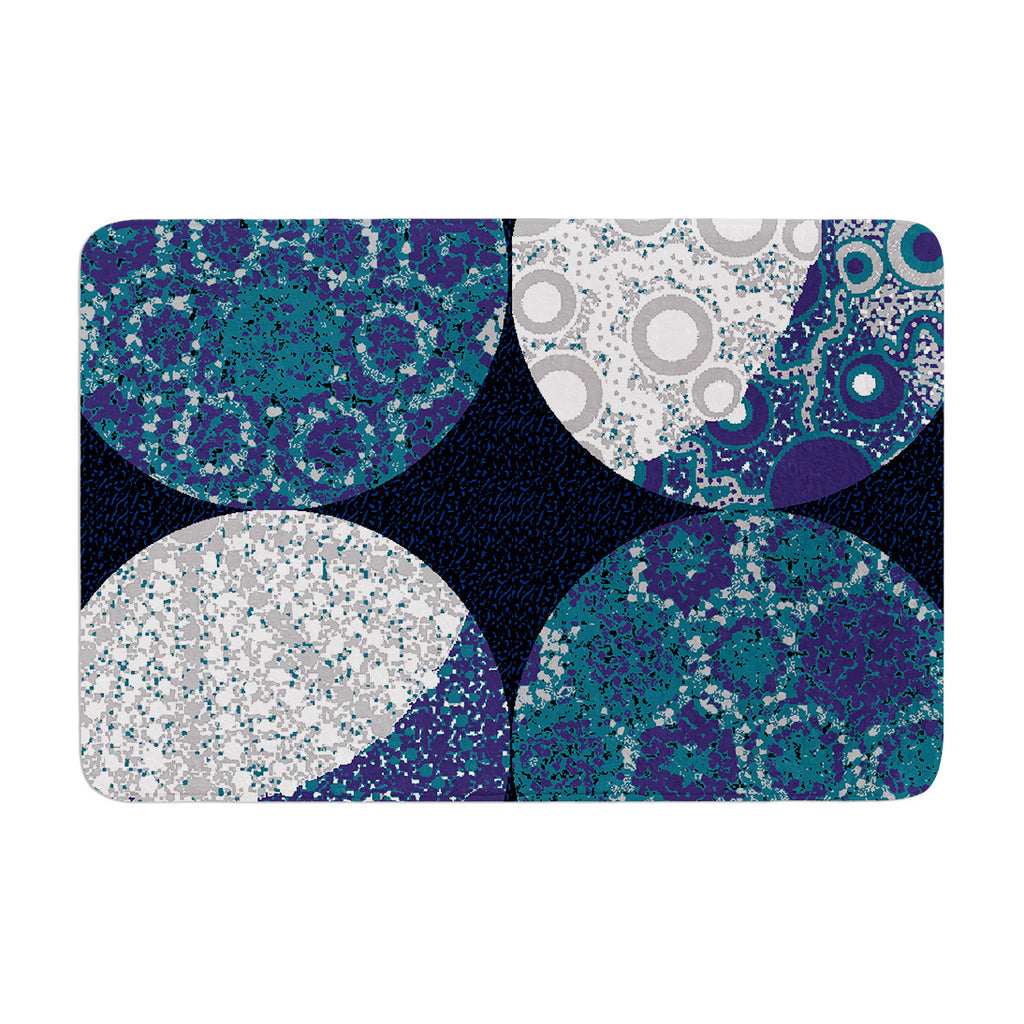 "Laura Nicholson ""Moons"" Blue Gray Memory Foam Bath Mat - KESS InHouse"